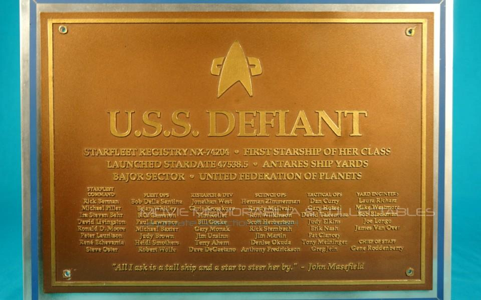 Star Trek DS9: DEFIANT Command Bridge Dedication plaque, one of the three made!!!